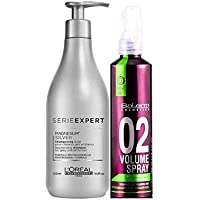 Loreal Silver Champu Cabellos Blancos y Grises 500ml + Salerm 02 Volumen Spray Anti-Yellow
