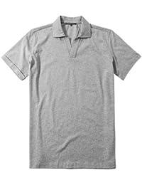 RENÉ LEZARD Herren T-Shirt Baumwolle Shirt Meliert, Größe: 52, Farbe: Grau