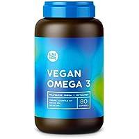 Vegan Omega 3 | Mit kaltgepresstem Algenöl | Optimales Verhältnis zwischen pflanzlichen EPA und DHA Fettsäuren | 80 Softgels