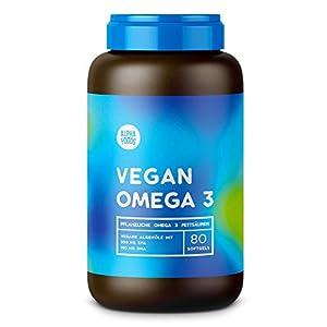 Vegan Omega 3   Mit kaltgepresstem Algenöl   Optimales Verhältnis zwischen pflanzlichen EPA und DHA Fettsäuren   80 Softgels