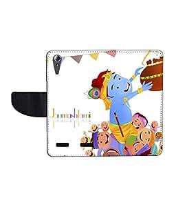 KolorEdge Printed Flip Cover For Lenovo A6000 - Multicolor
