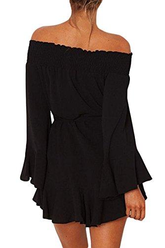 MYWY - Miniabito maniche lunghe abito corto spalle nude vestito donna cinta vita Nero