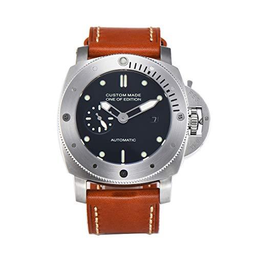PARNIS-MM 9509 deutsche Edition Herrenuhr Automatik-Uhr 47mm Edelstahl Drehlünette Leder Mineralglas 5BAR Seagull Uhrwerk mit Datumsanzeige