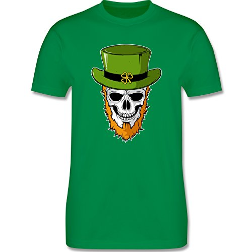 St. Patricks Day - St. Patricks Day - Totenkopf - L - Grün - L190 - Herren T-Shirt Rundhals (Shirt Patricks St Day Grün)
