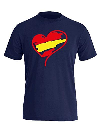 Europameisterschaft 2016 Spanien Herz - Herren Rundhals T-Shirt Navy/Rot- gelb