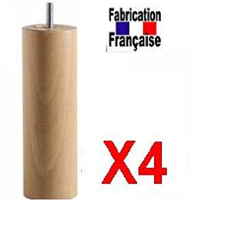 Lot 4 Pieds Lit 35 cm Diam 70 mm Fixation Standard vernis naturel