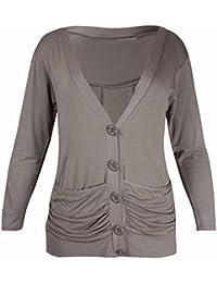 Femmes Neuf Ladies Manches Longues Garçon Ami Bouton Avant Ruché Haut  Extensible 2 Poches Cardigan Grande f063e1f94cce