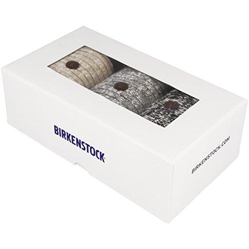 Birkenstock-Gift-Box-Gr-39-41-Slub-Ladies-Men-3-Pack-Socken-black-grey-beige-white-gray-white