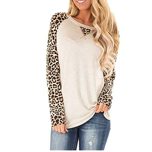 ZHJA Neue Frauen Herbst Print Raglanärmel T-Shirt Gestreifte Ärmel Top Leopardenmuster Camouflage Langarm Pullover
