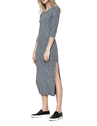 Blooming Jelly Women's 3/4 Sleeve Round Neck Split Plain Casual Long Knit Dress