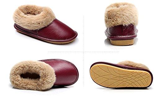 Marroni Cotone Tellw Winte Uomini Signore Donne Buio Di D'inverno Scarpe Calde Pantofole Di Cuoio qwSfqOC