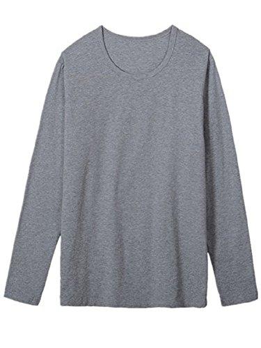BOMOVO Herren Reine Baumwollhemd Funktionsunterwäsch Top Shirt Grau