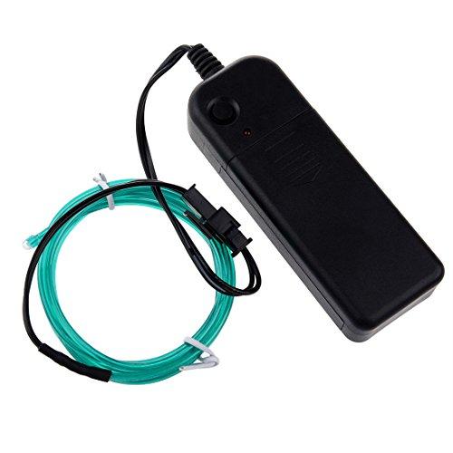 SODIAL (R) verde flessibile di EL Wire Neon Luce 1M Dance Party Decor + contro