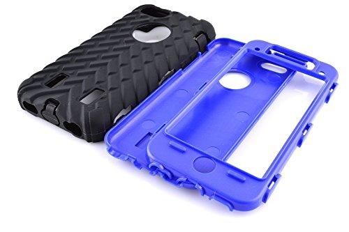 Iphone 5C Coque,Lantier Tire Conception fraîche de la série 3 en 1 Heavy-Duty Dual Layer Soft Touch Housse de protection avec boîtier intérieur dur PC pour Apple Iphone 5C Noir Tire Dark Blue