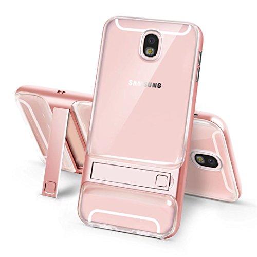 cover iPhone 7 morbido silicone Guscio Anti-drop Paraurti duro del PC pesante griglia Anti-impronta digitale supporto Custodia -Trasparente + grigio trasparente+Oro rosa