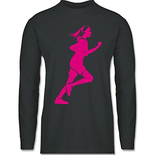Laufsport - Läuferin - Longsleeve / langärmeliges T-Shirt für Herren Anthrazit