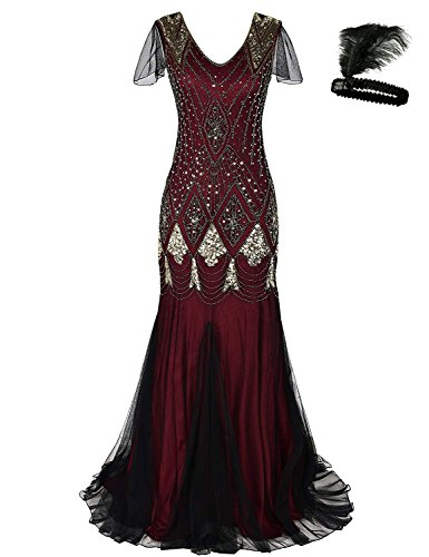 Damen Frauen 1920s 20er Cocktail Maxi Lange Gatsby Abend Kleid meerjungfrau formelle Gewand Dress (red/Gold, XXL)