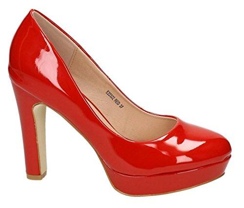Klassische Damen Lack Pumps Stilettos High Heels Plateau Abend Schuhe Bequem 22 (39, Rot)