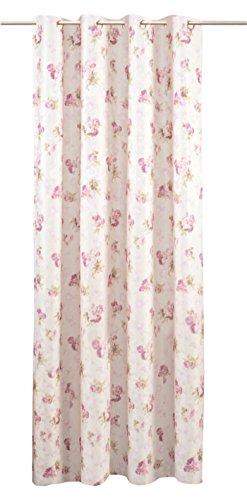 Haus und Deko Jacquard Übergardine Rosemarie in Creme Weiß mit Blumenmuster Damast Rosen 140x245 cm Ösen Vorhang Blickdicht lichtdurchlässig