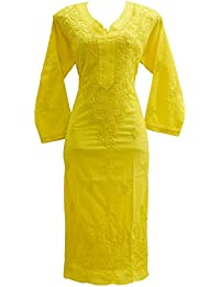 Lucknowi Chikankaari Yellow Designer Needle Craft 100% Soft Cotton 46 Inches Long Kurta With Free White Slip.