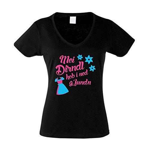 Damen T-Shirt V-Neck - Mei Dirndl hob i ned g'funden - von SHIRT DEPARTMENT schwarz-weiss