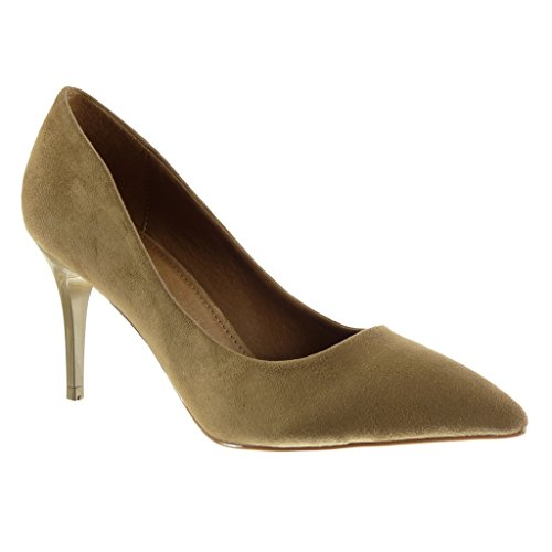 Angkorly Damen Schuhe Pumpe - Stiletto - Dekollete Stiletto High Heel 8.5 cm - Khaki L6930 T 37