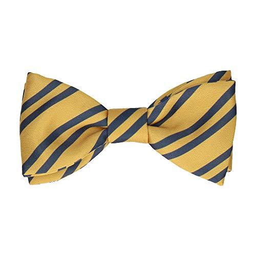 Gold Stripe Bow Tie (Mrs Bow Tie Brockenhurst Stripes Fliege, Fertig gebundene - Gold & Navy Blau)