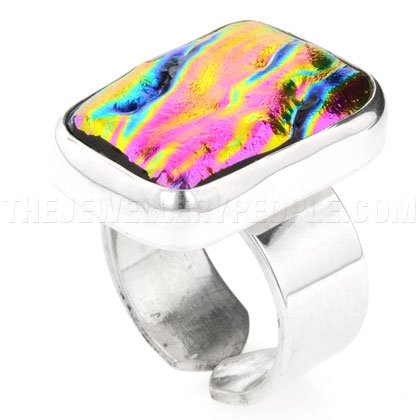 Pink Rippled Dichroic Glass & Silver Lozenge Ring - P