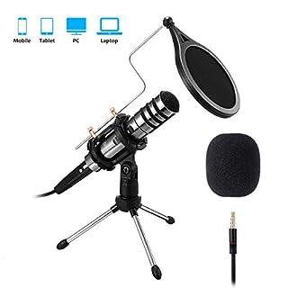 EIVOTOR Aufnahme Mikrofon für Handy und PC 3,5mm Klinke Desktop Kondensator Mikrofone mit Ständer Plug & Play Computer Microphone für Musik, Smartphone, Laptop, Singen, Podcast, Recording, YouTube