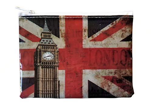 Elizabeth Geldbörse (Big Ben und Union Jack Geldbörse - Britische Flagge ändern/Rot Weiß und Blau/Weiß Zip/Distressed Vintage Design/Elizabeth Tower/London Souvenir aus England UK)