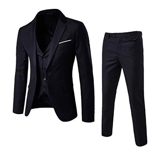 Guiran Herren Anzug Regular Fit Business Anzüge 3-Teilig Anzugjacke + Anzughose + Weste Schwarz 3XL