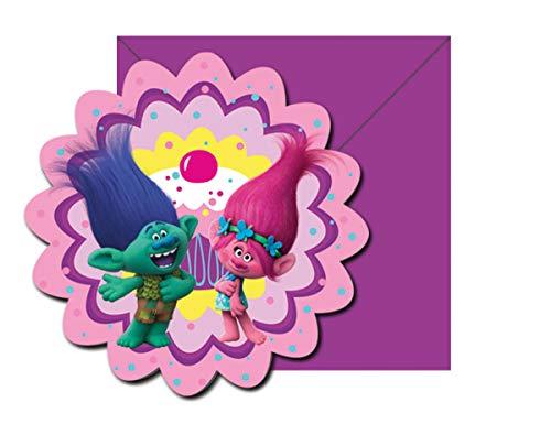 Lot de 12cartes d'invitation Kit * trolls * pour anniversaire d'enfant//6cartes d'invitation Plus 6enveloppes/fête/enfant fête d'anniversaire Thème Invitation plates