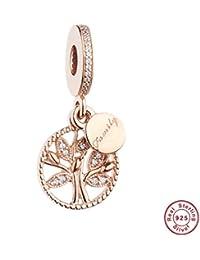 d1014806dbc8 MOCCI La Herencia del árbol de la Familia del Oro de Rose del Rosa cuelga  los Granos DIY Adapta para Las Pulseras…