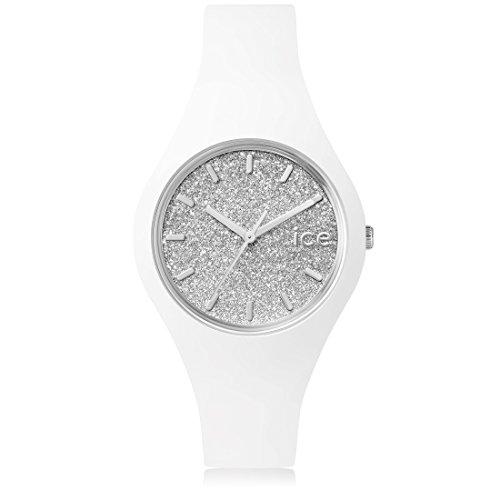 Ice Watch Glitter Orologio da Polso, Quadrante Analogico da Donna, Cinturino in Silicone, Bianco
