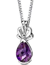 Revoni Amethyst Pendant Necklace Sterling Silver Pear Shape Checkerboard Cut