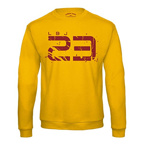 LBJ 23 Sweatshirt Lebron James Cleveland Cavaliers Cavs Pullover Basketball Shirt (M, Gelb)