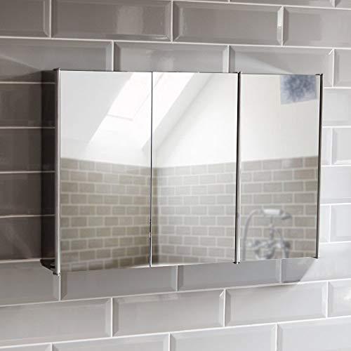 Bath Vida Badspiegelschrank mit 3 Türen aus Rostfreien Stahl, Aufbewahrung, Silber, mit magnetischem Schließmechanismus