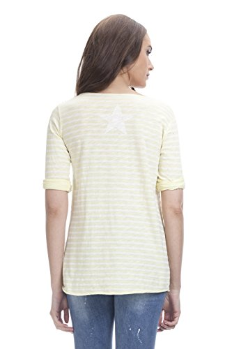 Tantra Damen T-Shirt Striped Tshirt With backprinted Star Gelb