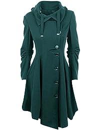 66955b8427afea Bonboho Damen Frauen Jacken Mantel Parka Lange Trenchcoat Vintage Retro  Asymmetrisch Oversize S-5XL