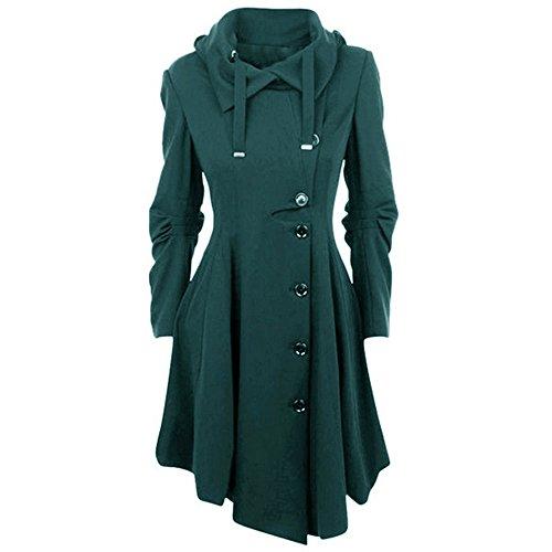 OEAK Damen Herbst Elegant Gothic Mäntel Kleider Trenchcoat Lang Parka mit Asymmetrisch Saum Jacke Windbreaker Lange Ärmel Mantel