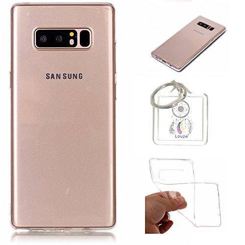 Preisvergleich Produktbild Hülle Galaxy Note 8 6,3 Zoll Hülle Soft Flex Transparent Silikon TPU Handyhülle Schutzhülle für Samsung Galaxy Note 8 6,3 Zoll Case Cover - Crystal Clear + Schlüsselanhänger (P) (1)