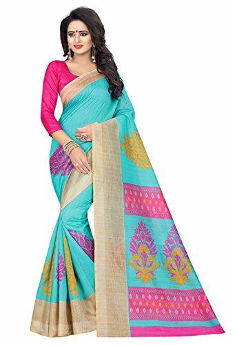 Ishin Bhagalpuri Art Silk Blue Printed Party Wear Wedding Wear Casual Wear Festive Wear Bollywood New Collection Latest Design Trendy Women\'s Saree/Sari