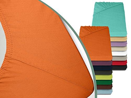 Jersey Spannbetttuch in bewährter Qualität - erhältlich in 16 modernen Farben und 5 verschiedenen Größen, 70 x 140 cm, orange