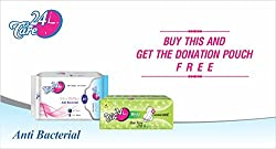 24Care Ultra Anti Bacterial Sanitary Napkins Pads - Xl 280Mm (Pack Of 8 )