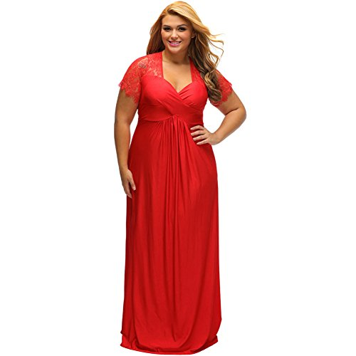 Yueyuefa Black Dentelle Yoke Ruched Twist haute taille plus robe de taille Red