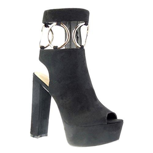 Angkorly – damen Schuhe Stiefeletten Sandalen – Plateauschuhe – Offen – Sexy – Schleife – String Tanga – golden Blockabsatz high heel 13.5 CM – Schwarz