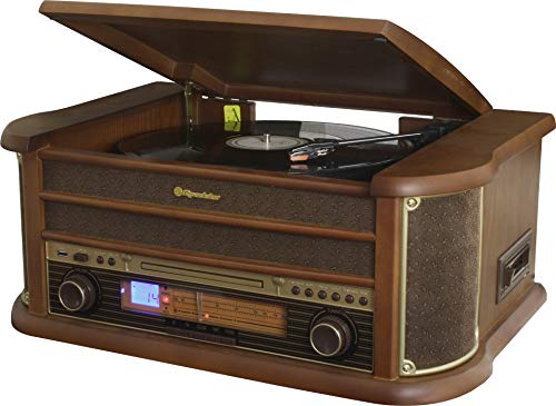 Roadstar HIF-1993BT - Retro wood HiFi system with turntables (Bluetooth, FM, CD) color wood - Stereo Turntable System