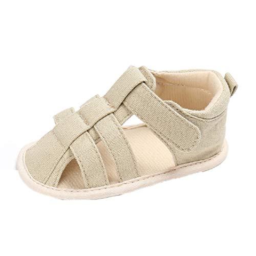 feiXIANG Unisex Baby Sandalen Frühlings Sommer weiche krippe Schuhe Mädchen Jungen Römersandalen 0-12 Monat(Khaki,9-12Monat=13) -