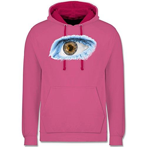 Länder - Auge Bodypaint Argentinien - Kontrast Hoodie Rosa/Fuchsia