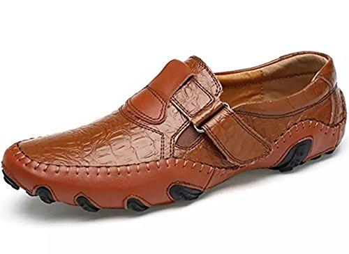 Herren Leder Schuhe Slipper Elegant Flache Loafers Bootsschuhe Derby Braun